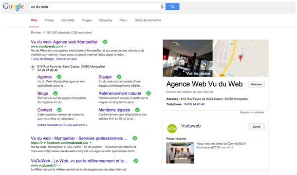 Google My Business Vu du Web