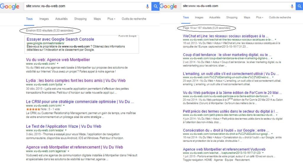 figure 1 : exemple de données contradictoires de l'indexation des pages de Vu du Web sur Google (suite à notre refonte).