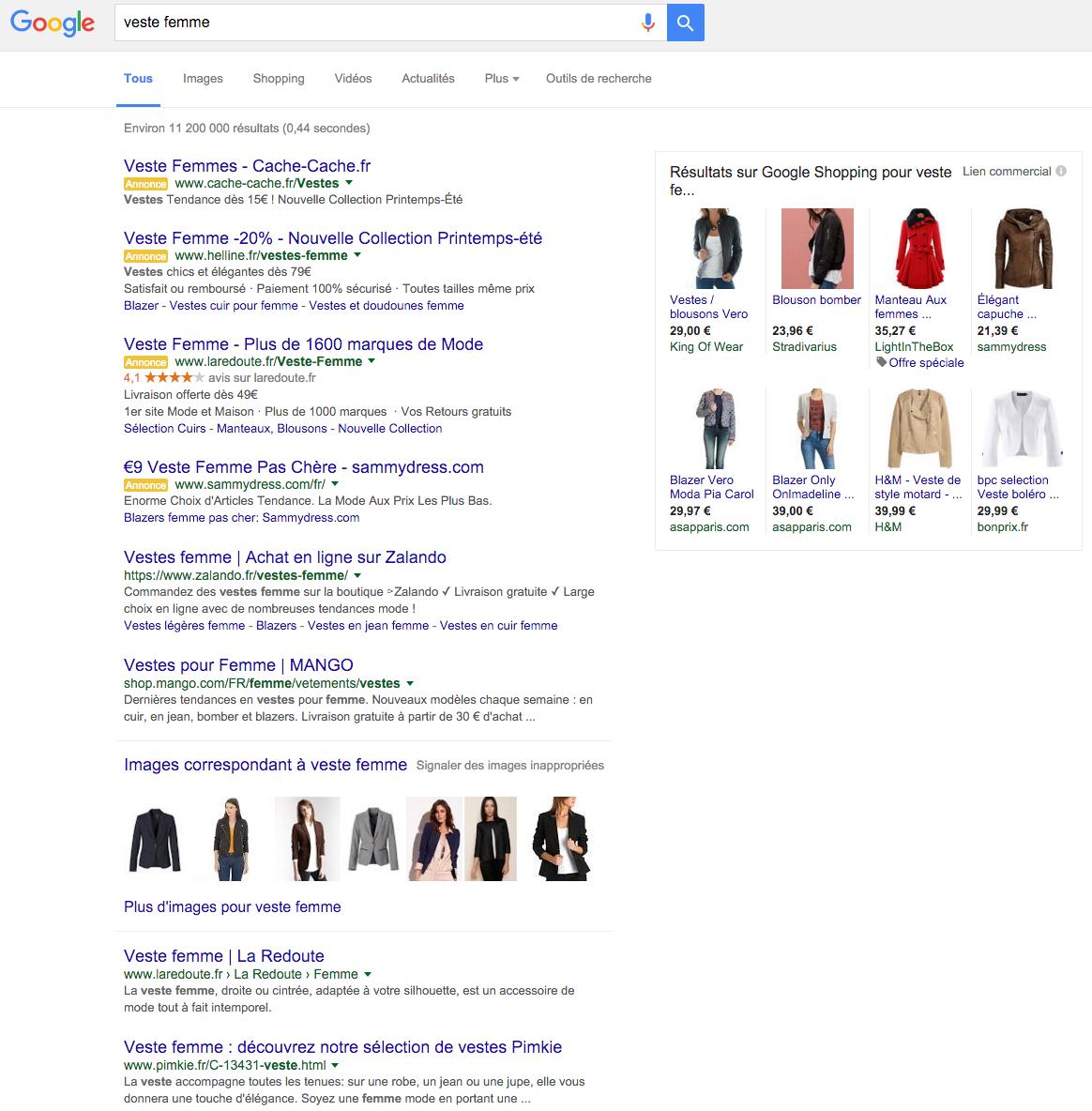 Trouver un veste femme dans google