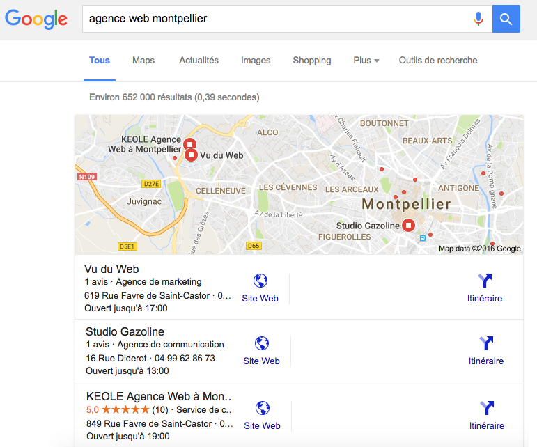 agence web montpellier sur Google map