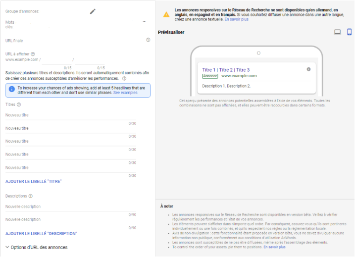 Nouveau format d'annonces Google Adwords : Responsive Search Ads