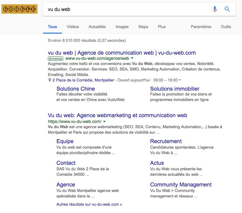 Annonce sponsorisée Google Adwords de Vu du Web